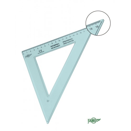 45 Degree 30cm Clear Blue Plastic Set Square
