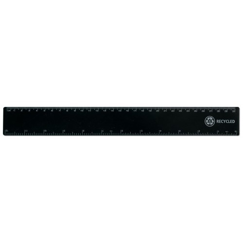 "12""/30cm Black Recycled Plastic Ruler"