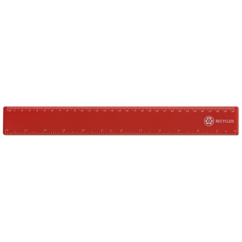"12"" / 30cm Red Recycled Plastic Ruler"