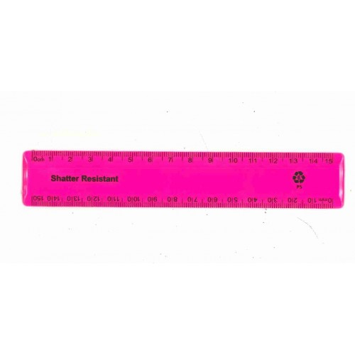 """6"""" / 15cm Pink Recycled Plastic Ruler"""