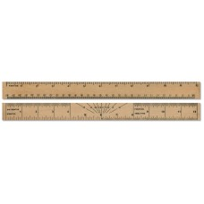 "12""  / 30cm Wooden ruler with Protractor"