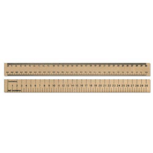 "30cm / 30mm/12"" Double sided Wooden Ruler with Protractor"
