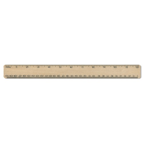 "12"" / 30cm Wooden Office Ruler  1-12"" in 16"""