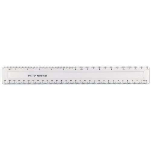 "12""/30cm Clear Plastic  Shatter Resistant Ruler"