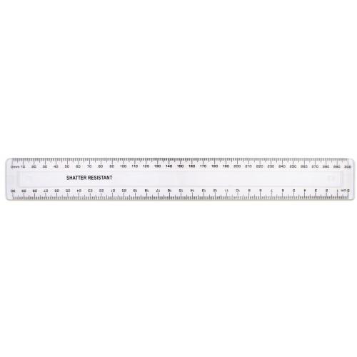 30cm/300mm Clear Plastic Shatter Resistant Ruler