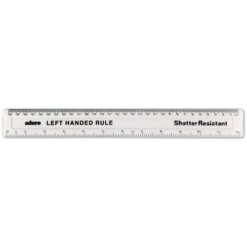 "12""/ 30cm Clear Plastic LEFT HANDED Ruler"