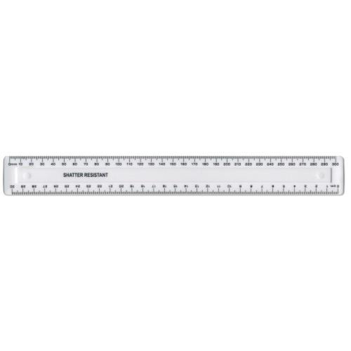 30cm/300mm White Plastic Shatter Resistant Ruler