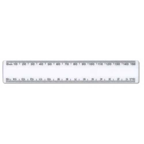 15cm / 150mm White Plastic Ruler