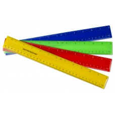 "100 x 12""/30cm Plastic Ruler - 20 each of 5 Colours"