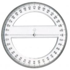 360 Degree 15cm Clear Plastic Protractor
