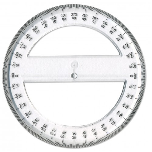 360 Degree 15cm Clear Plastic Protractor