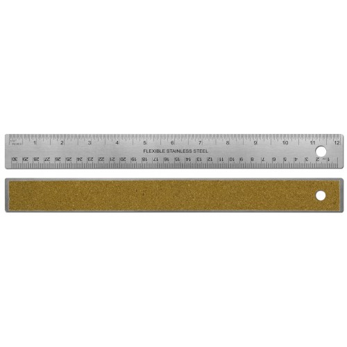 "12""/30cm Stainless Steel Ruler with Cork Banking"