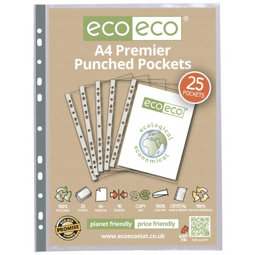 A4 Premium  Multi Punched Pockets - Pack 25