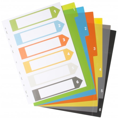 A4 Set of 6  Index File Dividers